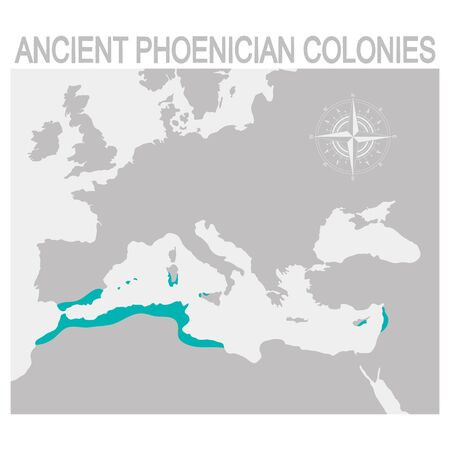map of the Ancient Phoenician colonies Illustration