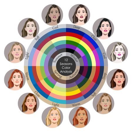 Stock vector seasonal color analysis palette for all types of female appearance. Best colors for 12 types. Face of young woman
