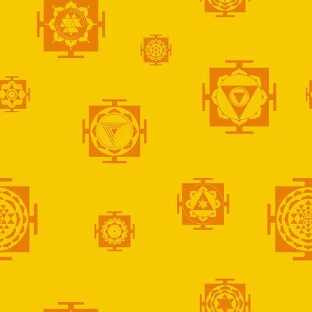 Seamless pattern with Yantra Hinduism symbols