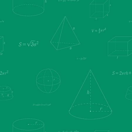 Seamless pattern with geometry figure and formulas