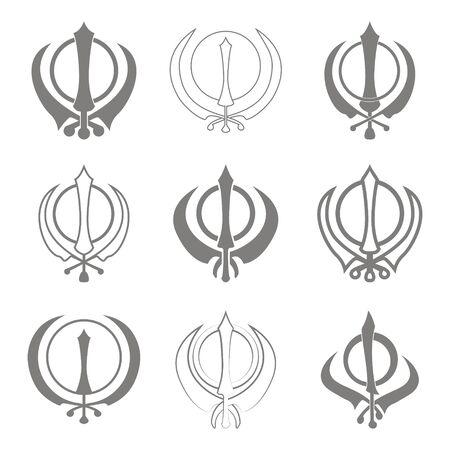 Vector icons set with Sikh symbol Khanda