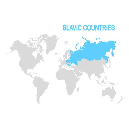 vector illustration with map of the slavic countries Çizim