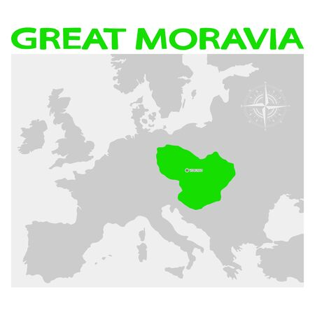 vector illustration with map of the Great Moravia