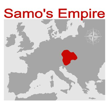vector illustration with map of the Samos Empire