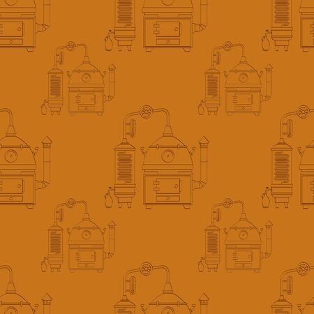 Seamless pattern with vintage distillation apparatus