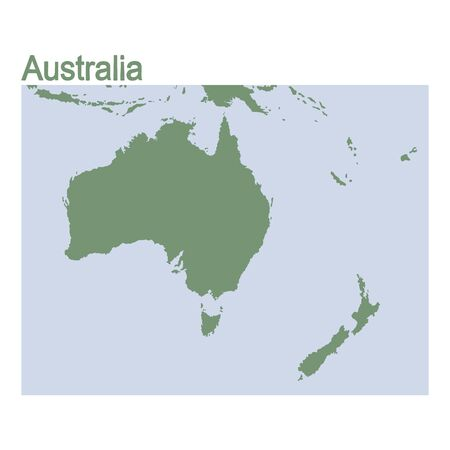 vector illustration with map of continent Australia