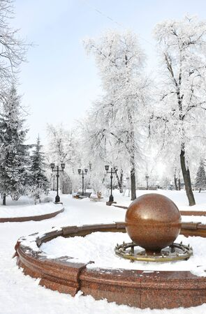 Snowy fountain in winter park for your design Reklamní fotografie