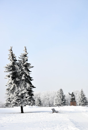 Monument to Volodymyr Monomakh in a snowy park