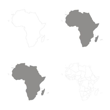 vector illustration with Political Maps of Africa