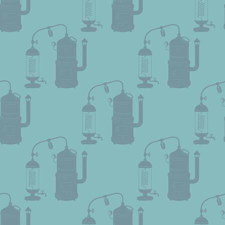 Seamless pattern with distillation apparatus