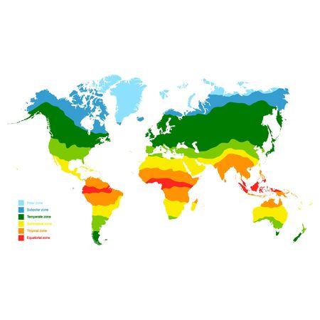Mapa del vector con las zonas climáticas del mundo Ilustración de vector