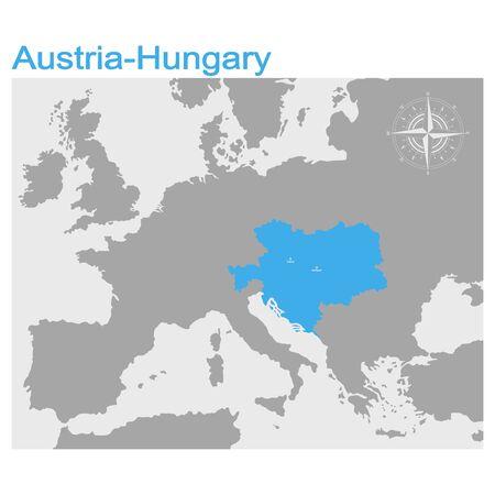 map of the Austro Hungarian Empire Векторная Иллюстрация