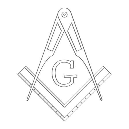 Masonic square and compasses Illustration
