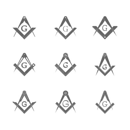 set with Masonic Square and Compasses