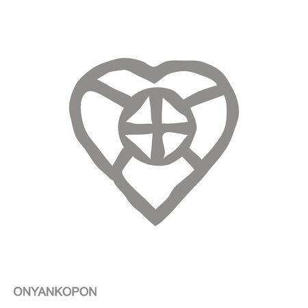 icon with Adinkra symbol Onyakopon 向量圖像