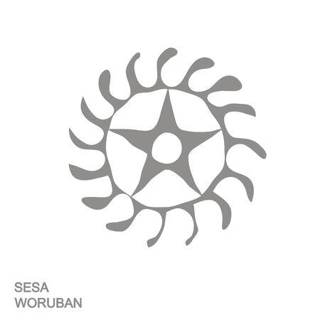 Vector icon with Adinkra symbol Sesa Woruban