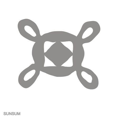 Vector monochrome icon with Adinkra symbol Sunsum