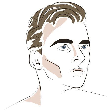 Hand drawn portrait of handsome man. Vector illustration