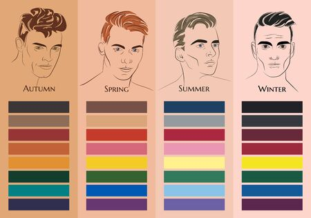 Seasonal color analysis. Set of vector hand drawn men with different types of male appearance. Best colors for Autumn, Spring, Summer, Winter