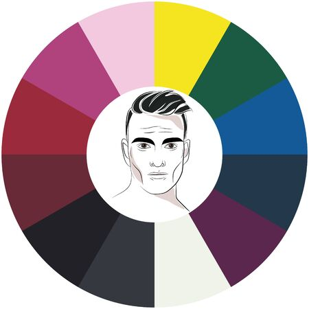 Stock vector color guide. Seasonal color analysis palette for winter type of male appearance. Face of young man. 向量圖像