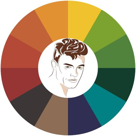 Stock vector color guide. Seasonal color analysis palette for autumn type of male appearance. Face of young man. 向量圖像