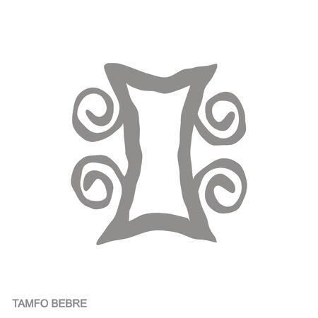icon with Adinkra symbol Tamfo Bebre 向量圖像
