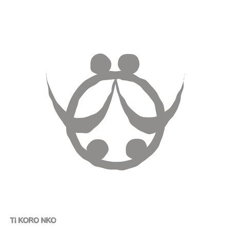 icon with Adinkra symbol Ti Koro Nko 向量圖像