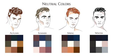Seasonal color analysis. Vector hand drawn men with different types of male appearance. Set of palettes with neutral colors for Winter, Spring, Summer, Autumn