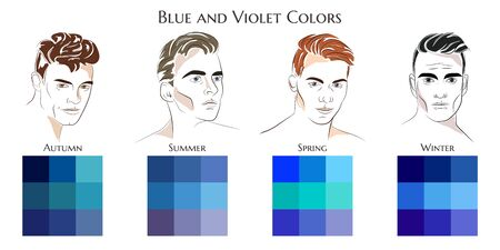 Seasonal color analysis. Vector hand drawn men with different types of male appearance. Set of palettes with blue and violet colors for Winter, Spring, Summer, Autumn