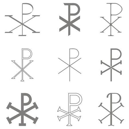 vector set with christian symbol chi rho Ilustrace