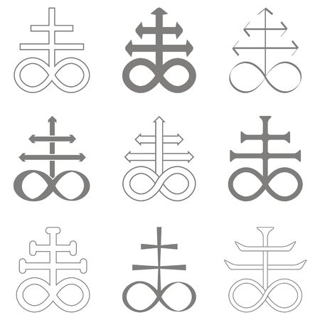 vector set with occult symbol Leviathan Cross