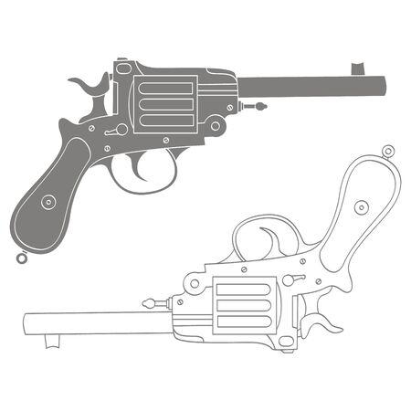 Vector monochrome icon with Revolver Illustration