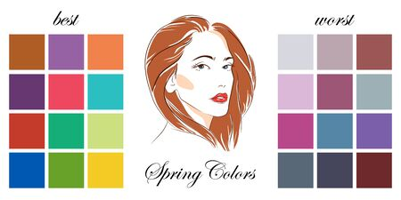 Stock vector seasonal color analysis palettes with best and worst colors for spring type of female appearance. Face of young woman