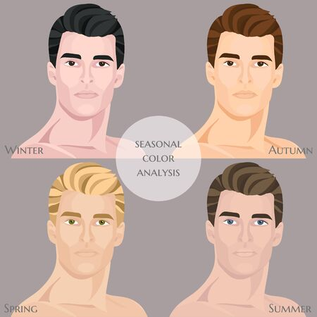 Seasonal color analysis with different types of male appearance. Set of vector men
