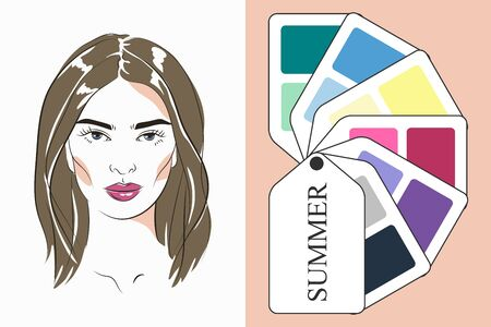Stock vector color guide. Seasonal color analysis palette for summer type of female appearance. Face of young woman