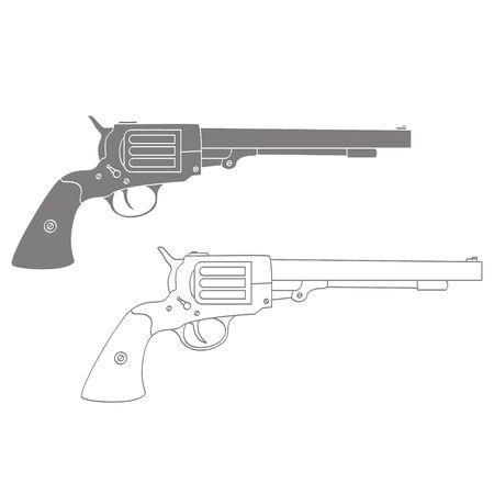 Vector monochrome icon with Revolver Ilustración de vector