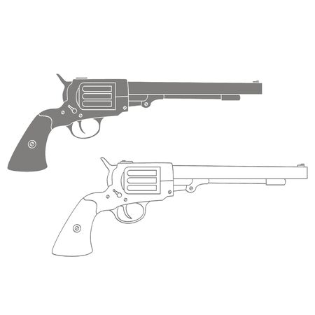 Vector monochrome icon with Revolver Иллюстрация