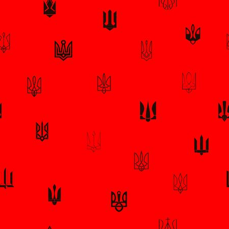 Seamless pattern with Ukrainian tridents Vectores