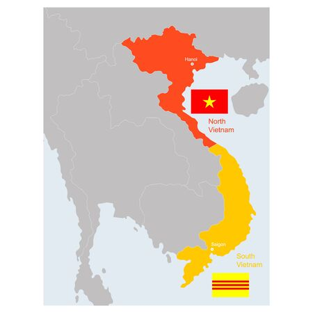 vector map of South and North Vietnam