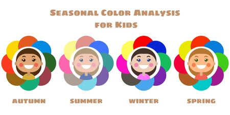 Stock vector seasonal color analysis palettes for different types of children appearance. Best colors for Autumn, Summer, Winter, Spring