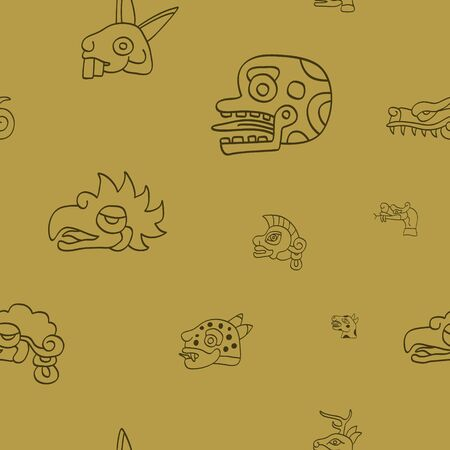 Seamless pattern with Aztec calendar Day signs