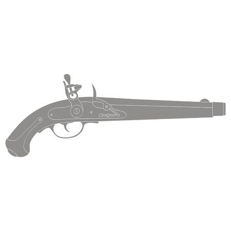 Vector monochrome icon with old pistol gun