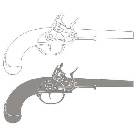 Vector monochrome icon with old pistol gun
