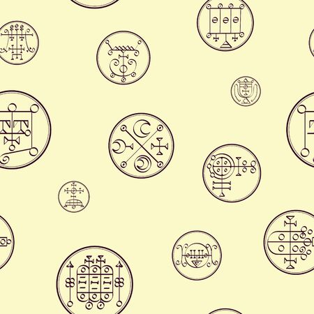Seamless vector pattern with symbols of demons