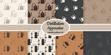 Collection of seamless pattern with distillation apparatus designed for web, fabric, paper and all prints