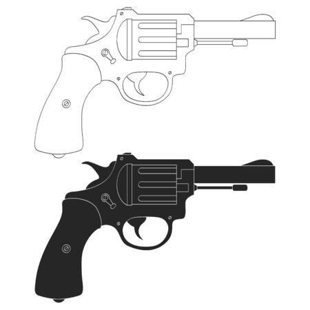 Vector monochrome icon with Revolver 向量圖像