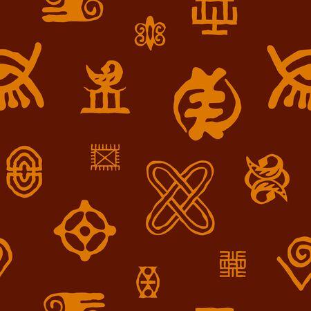 Seamless pattern with adinkra symbols