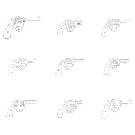 Vector monochrome icon set with Revolvers