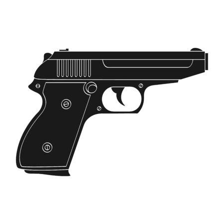 Vector monochrome icon with Pistol