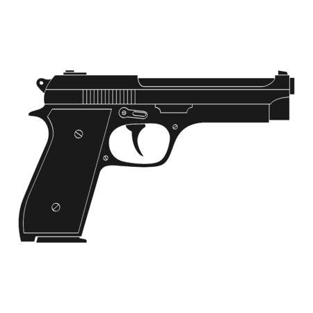 Vector monochrome icon with Pistol Illusztráció